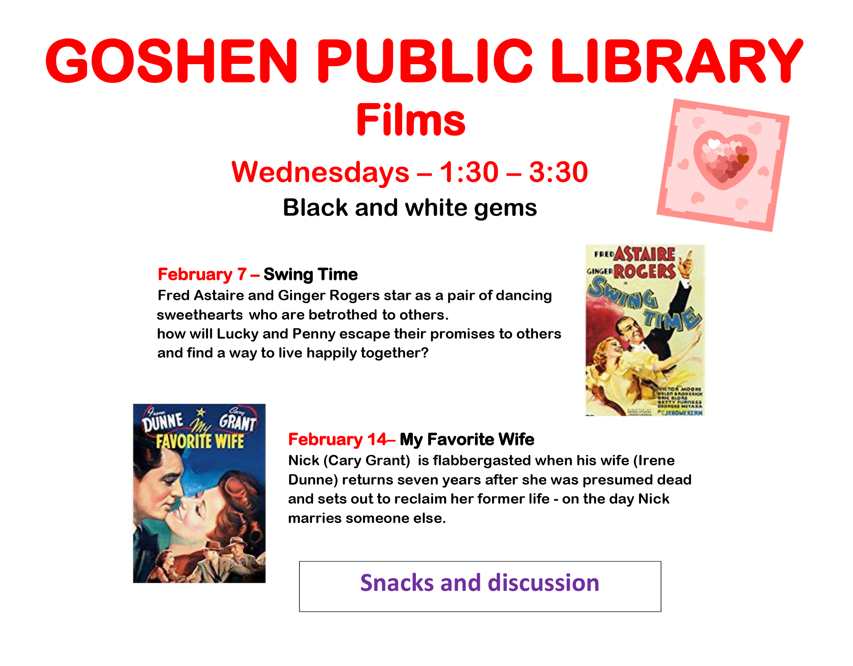 GOSHEN PUBLIC LIBRARY films Feb 7 2018