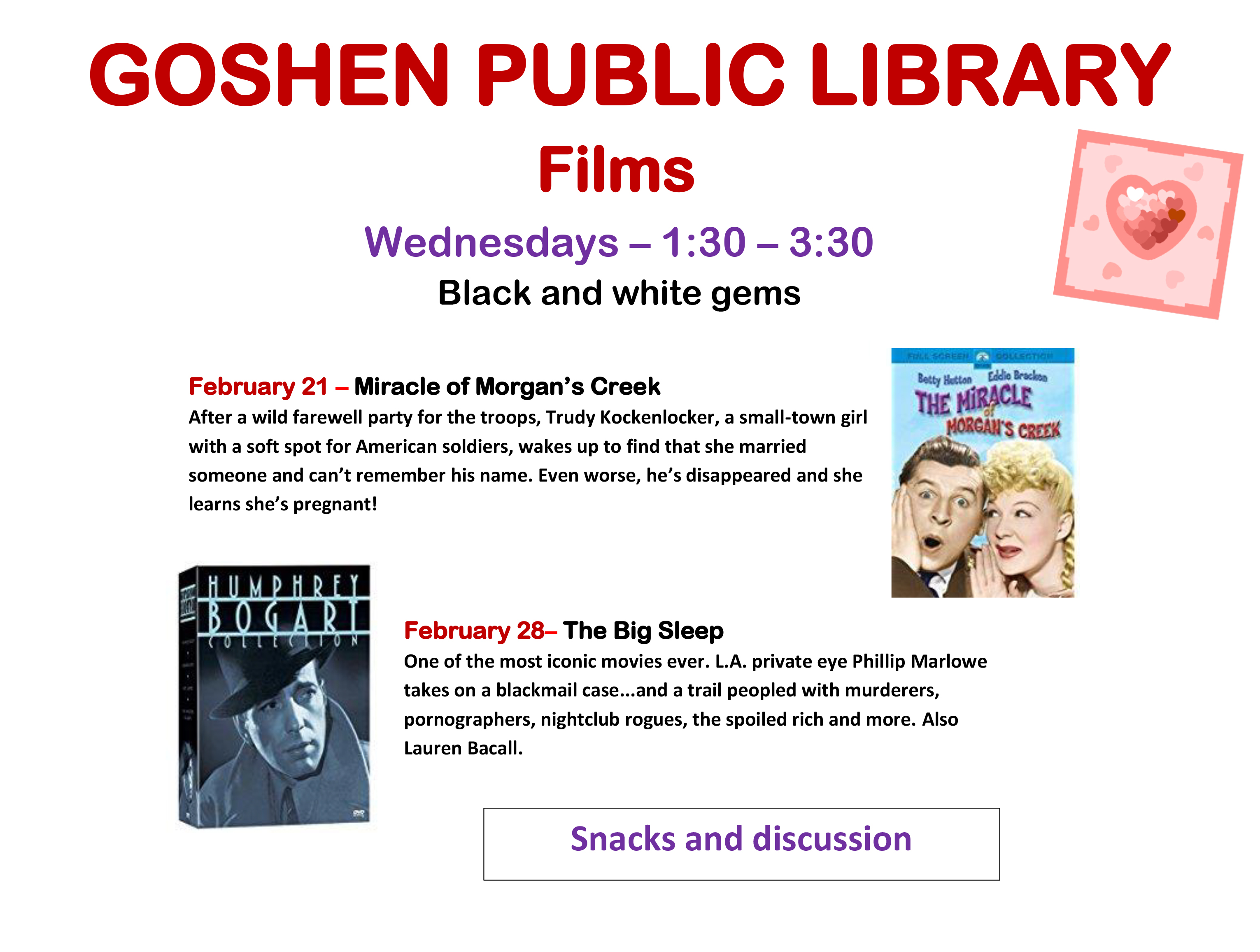 GOSHEN PUBLIC LIBRARY films Feb 21 2018