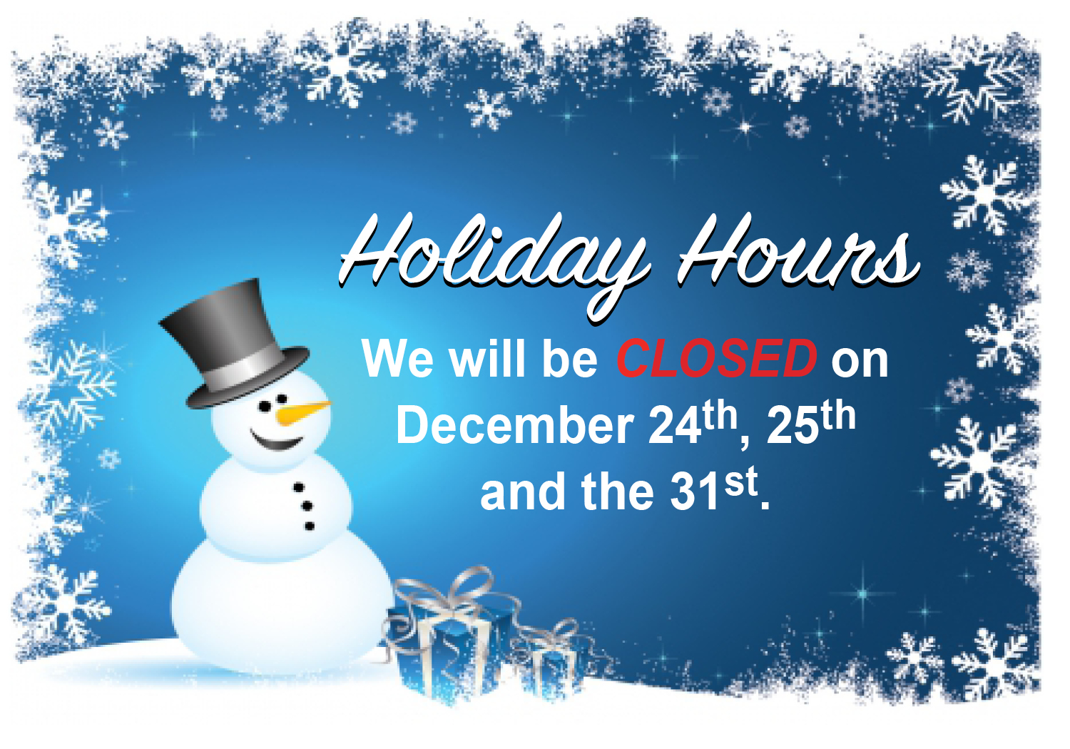 slider Dec Holiday hours